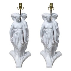 Pair of Mid-20th Century Large Italian Porcelain Figure Lamps