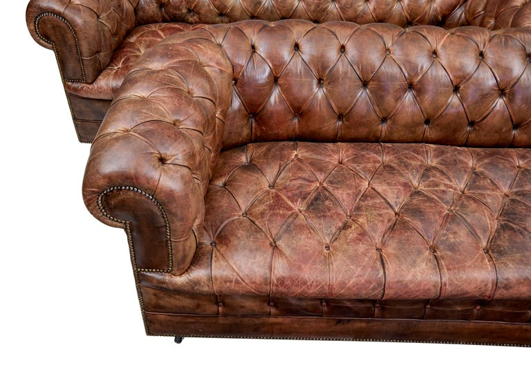 English Pair of Mid-20th Century Leather Chesterfield Sofas For Sale