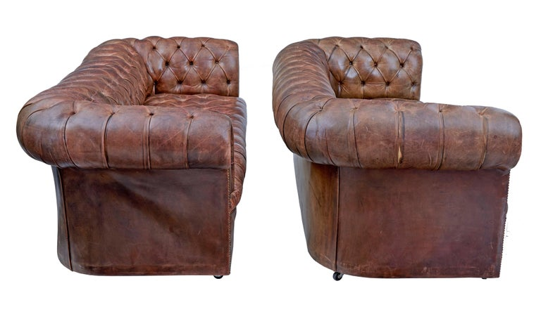 Hand-Crafted Pair of Mid-20th Century Leather Chesterfield Sofas For Sale