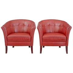 Pair of Mid-20th Century Leather Lounge Armchairs
