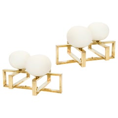 Pair of Mid-20th Century Modernist Style Brass and White Opaline Globe Sconces