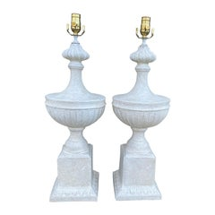 Pair of Mid-20th Century Neoclassical Plaster Urn Lamps, Custom Finish