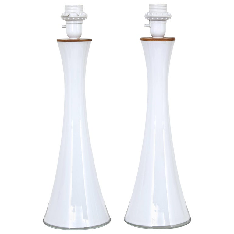 Pair of Mid-20th Century Opaline Glass Lamps by Bergboms of Sweden For Sale