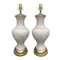 Pair of Mid-20th Century Oriental Cinnabar Style Lamps, Custom Finish