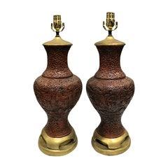 Pair of Mid-20th Century Oriental Cinnabar Style Lamps