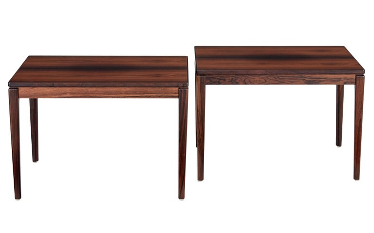 Pair of palisander side tables by Ulferts Möbler, circa 1970.  Fine quality pair of Swedish made rosewood side tables, produced by Ulferts Möbler. Simple but elegant design made from striking veneers, standing on tapering legs.  Many