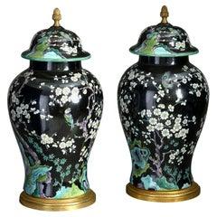 Pair of Mid-20th Century Paris Porcelain Chinoiserie Vases