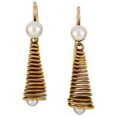 Pair of Mid-20th Century Pearl Drop Earrings