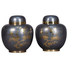 Pair of Mid-20th Century Pewter and Brass Ginger Jars
