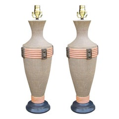Pair of Mid-20th Century Pottery Lamps by Reglor of California, Signed