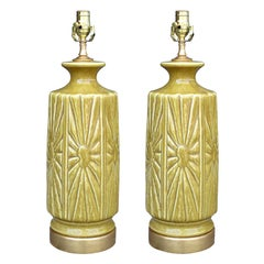 Pair of Mid-20th Century Pottery Lamps on Custom Gilt Bases