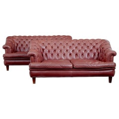 Pair of Mid-20th Century Red Leather Chesterfield Sofas