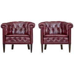 Pair of Mid-20th Century Red Leather Club Armchairs