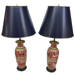 Pair of Mid-20th Century Red Porcelain Table Lamps