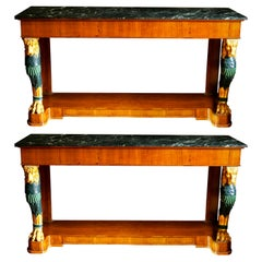 Pair of Mid-20th Century Regency Style Console Tables with Gilt Monopedia