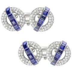 Pair of Mid-20th Century Sapphire and Diamond Cufflinks