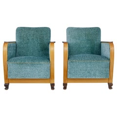 Pair of Mid-20th Century Scandinavian Elm and Birch Armchairs