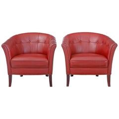 Pair of Mid-20th Century Scandinavian Leather Club Armchairs