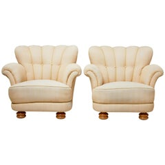 Pair of Mid-20th Century Shell Back Lounge Armchairs