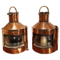 Pair of Mid-20th Century Ships Lanterns