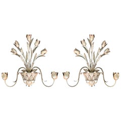 Pair of Mid-20th Century Silver Gilt Tulip Sconces