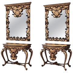 Pair of Mid-20th Century Spanish Baroque Style Mirror and Console