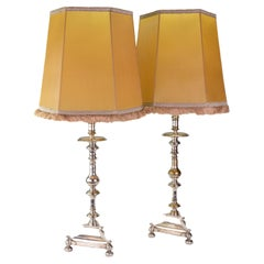 Pair of Mid 20th Century Spanish Silver Plated Valenti Candlestick Table Lamps