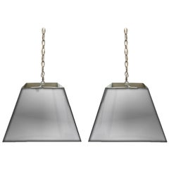 Pair of Mid-20th Century Square Chrome Hanging Shades