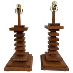 Pair of Mid-20th Century Stacked Wooden Lamps