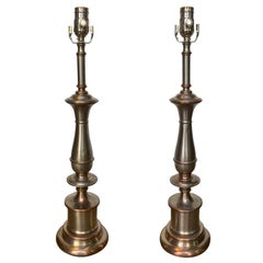 Pair of Mid-20th Century Steel and Brass Lamps