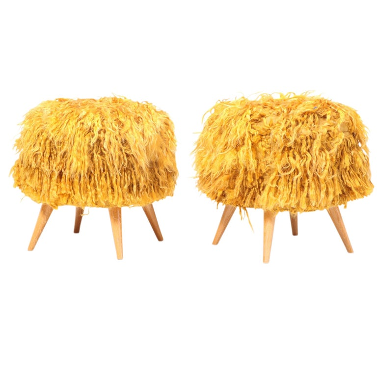 Mid-Century Modern Pair of Mid-20th Century Stools Upholstered in Vintage Angora Tulu Rugs