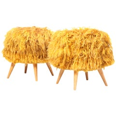 Pair of Mid-20th Century Stools Upholstered in Vintage Angora Tulu Rugs