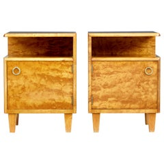 Pair of Mid-20th Century Swedish Birch Bedside Tables by Mobel AB Altorp