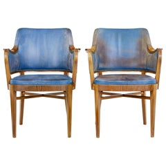 Pair of Mid-20th Century Teak and Leather Armchairs