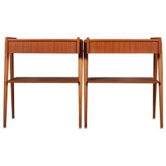 Pair of Mid-20th Century Teak Bedside Tables by Carlstrom & Co.