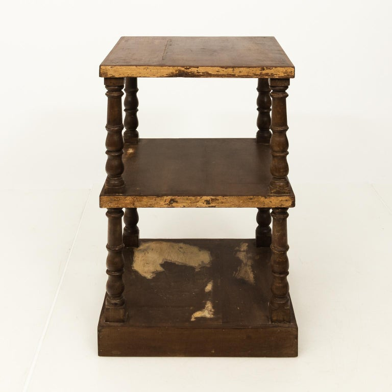 Industrial Pair of Mid-20th Century Three-Tier What Not Étagères For Sale