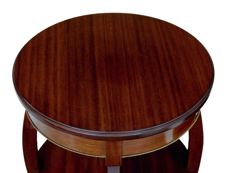 Empire Pair of Mid-20th Century Tiered Mahogany Lamp Tables For Sale