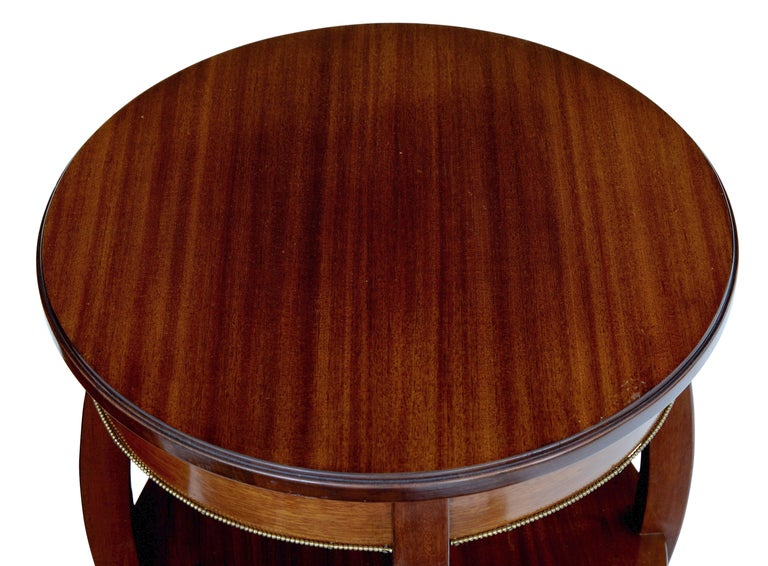 Swedish Pair of Mid-20th Century Tiered Mahogany Lamp Tables For Sale