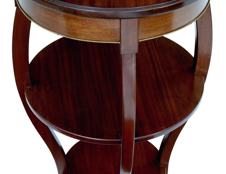 Woodwork Pair of Mid-20th Century Tiered Mahogany Lamp Tables For Sale