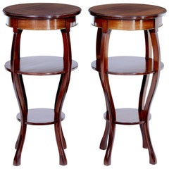 Pair of Mid-20th Century Tiered Mahogany Lamp Tables