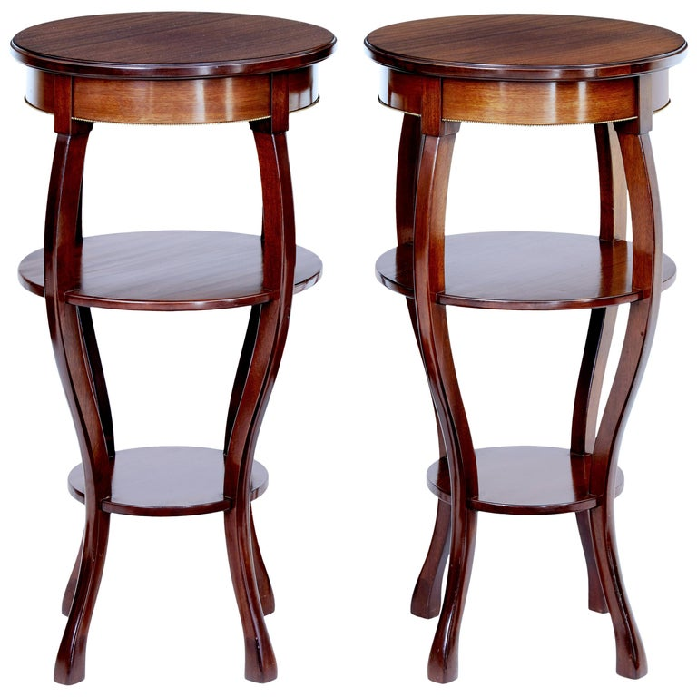 Pair of Mid-20th Century Tiered Mahogany Lamp Tables For Sale