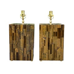 Pair of Mid-20th Century Tiger's Eye Lamps