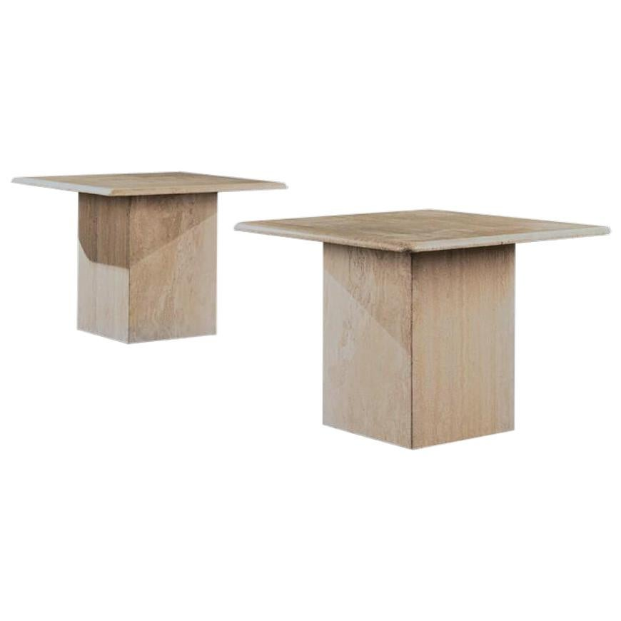 Pair of Mid-20th Century Travertine Side Tables