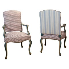 Pair of Mid 20th Century Venetian Style Blue and Off White Painted Armchairs
