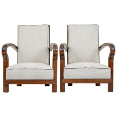 Pair of Mid-20th Century Walnut Open Frame Lounge Chairs