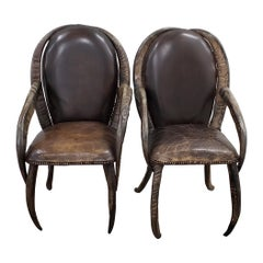 Pair of Mid-20th Century Water Buffalo Horn and Leather Armchairs