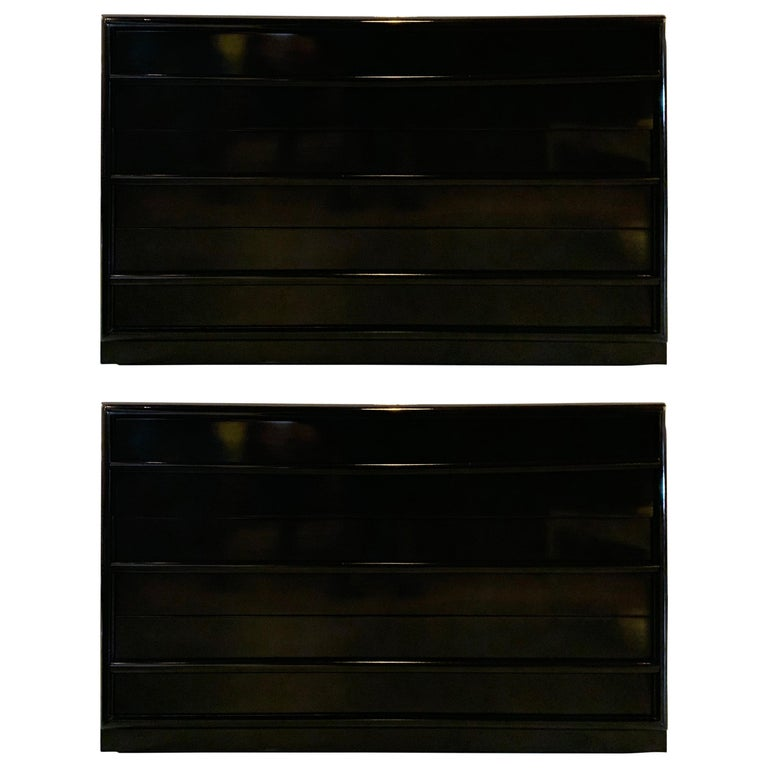 Midcentury Ebony Lacquered Robsjohn-Gibbings Three-Drawer Chests/Commodes, Pair For Sale