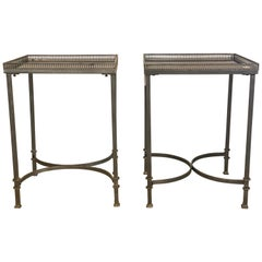 Mid-Century Modern Square Marble Top Silvered Side, Pedestal or End Tables, Pair