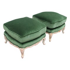 Pair of Mid Century 1940s French Louis XVI Style Painted Footstools or Ottomans