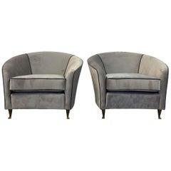 Pair of Midcentury 1950s Italian Armchairs by Lorenzo Bergallo in Grey Velvet